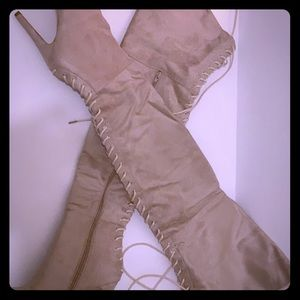 Shoes - Sadie Lace Back Over the Knee Boot Stone (suede)